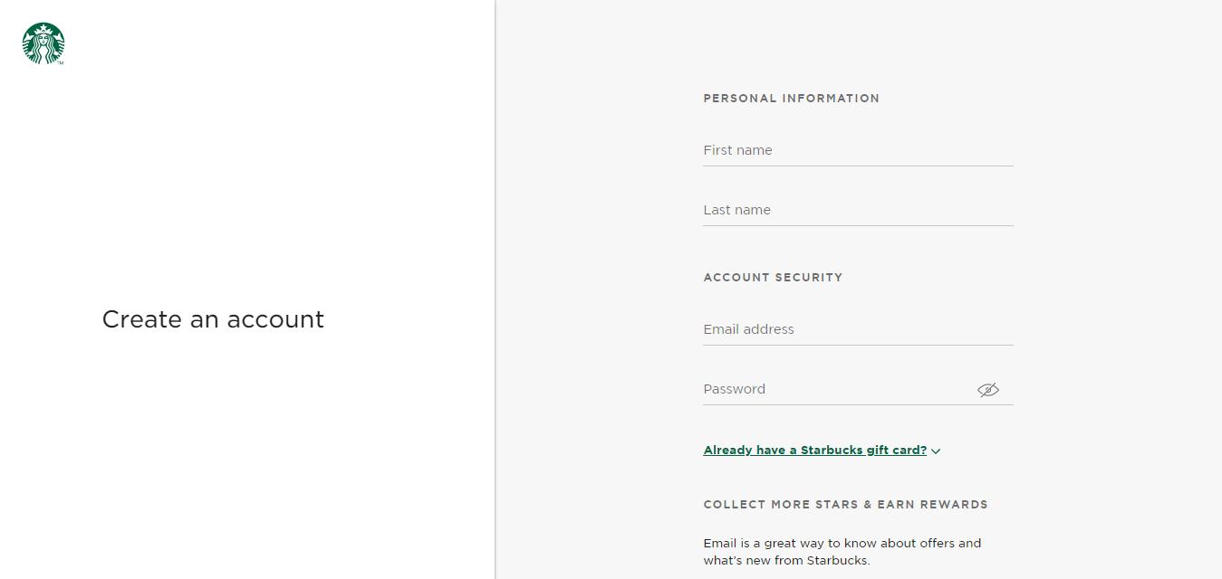 Create a Starbucks Account Starbucks Coffee Company
