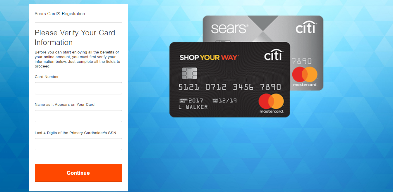 Sears Credit Card Registration Verification