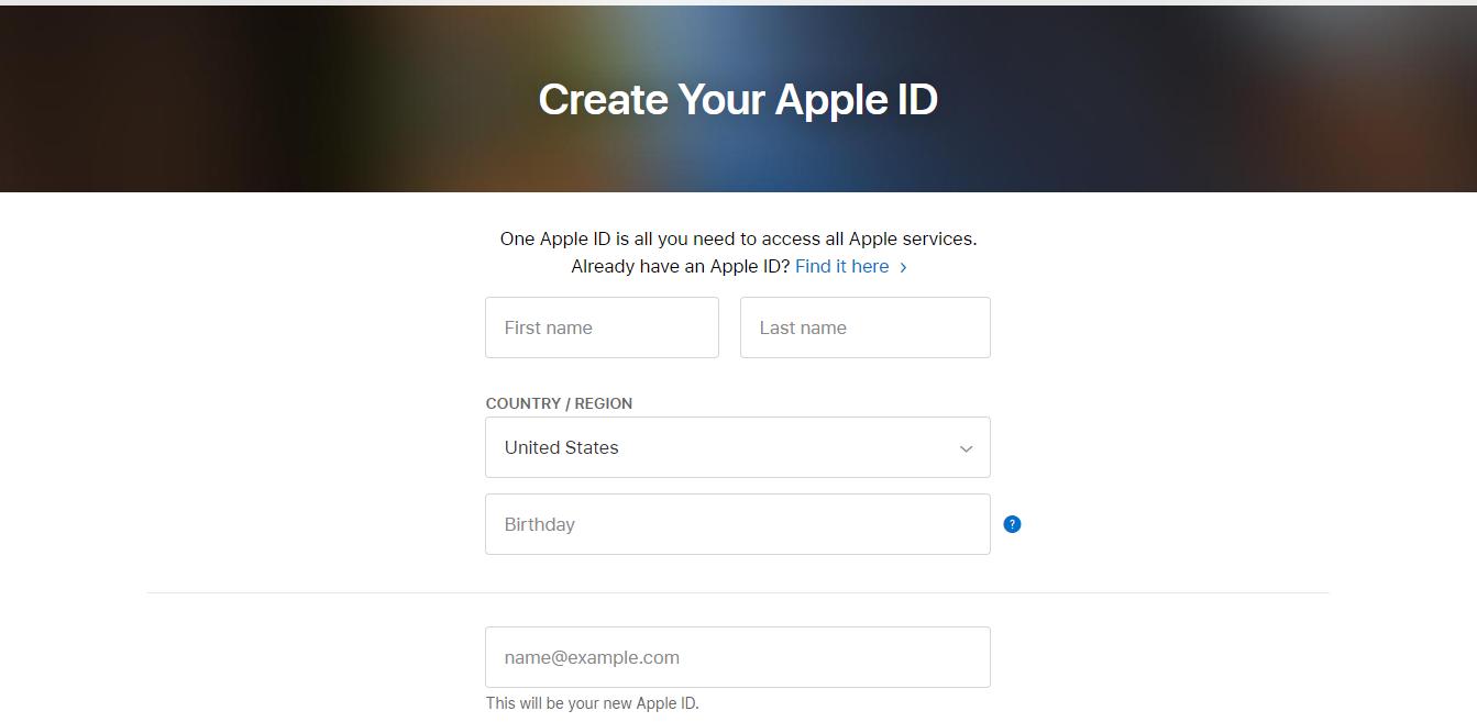 Create Your AppleID Apple