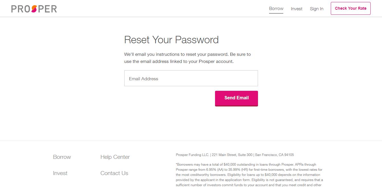 Reset Your Password Prosper