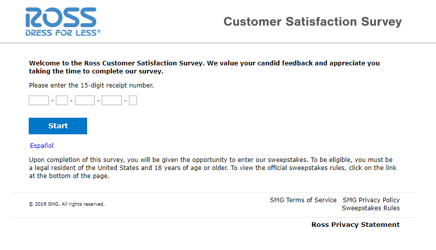 Ross Customer Satisfaction Survey Welcome