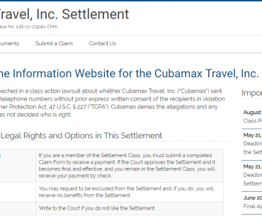 Cubamax Travel Inc Settlement Home