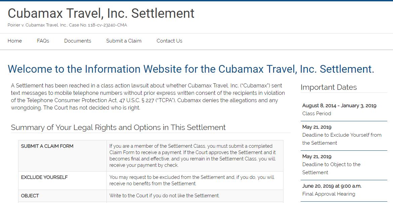 Cubamax Travel Inc Settlement Home