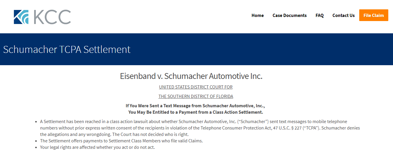 www schumachertcpasettlement com - How To File A Claim For