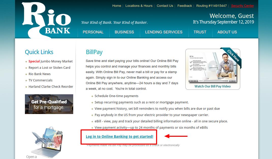 Bill Pay - Rio Bank McAllen TX