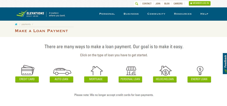 Make a Loan Payment elevationscu com