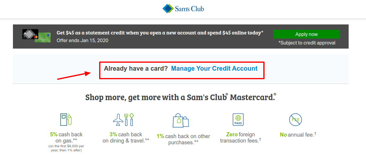 Sam s Club Credit Manage Account