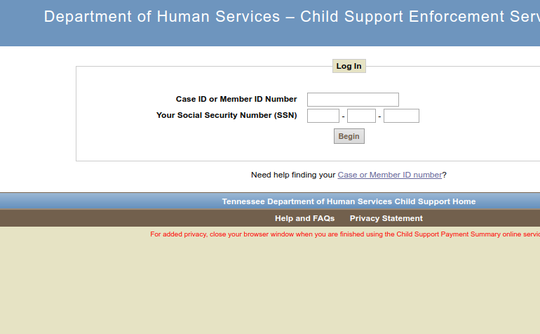 TN Child support logo