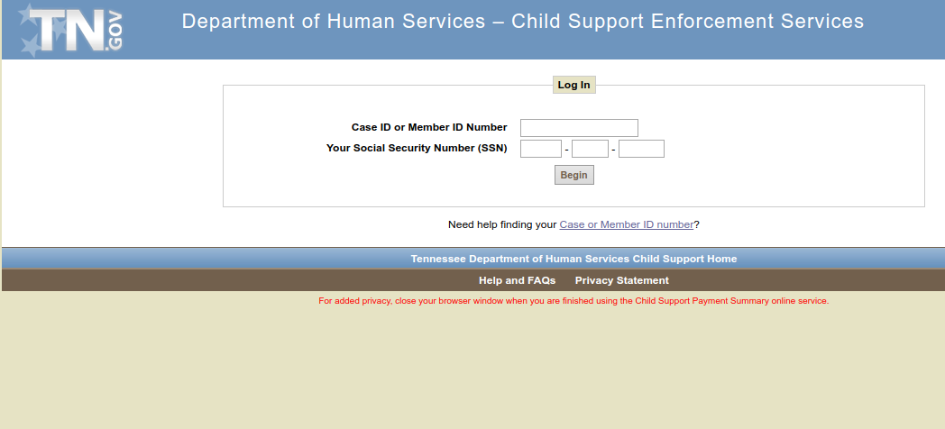 TN Child support logo