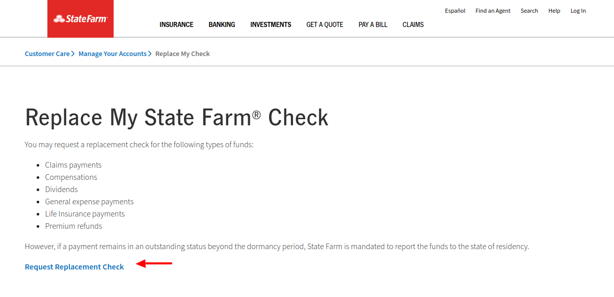 Replace My Check State Farm