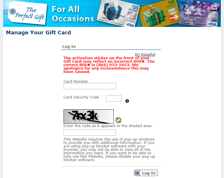 Manage Your Gift Card - Login
