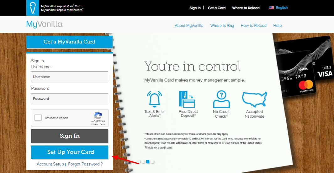 MyVanilla Reloadable Prepaid Card Setup