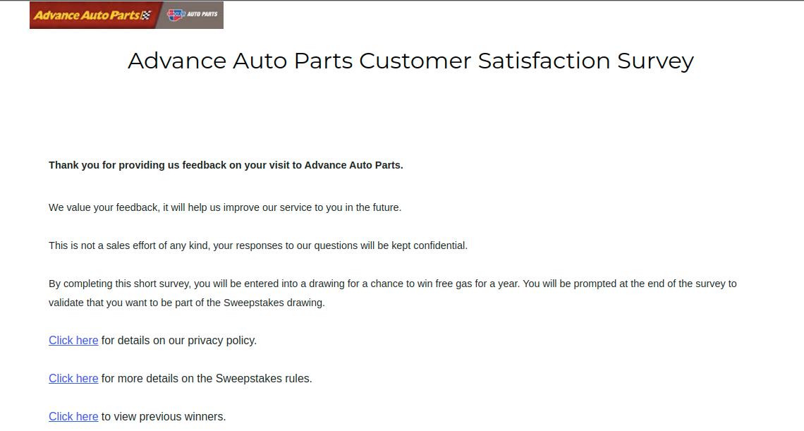 Advance Auto Parts Customer Satisfaction Survey