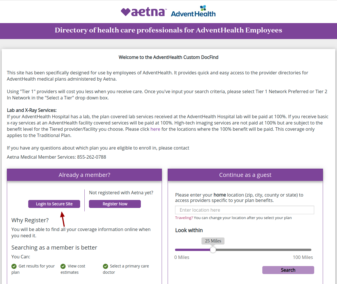 Aetna Secure Login