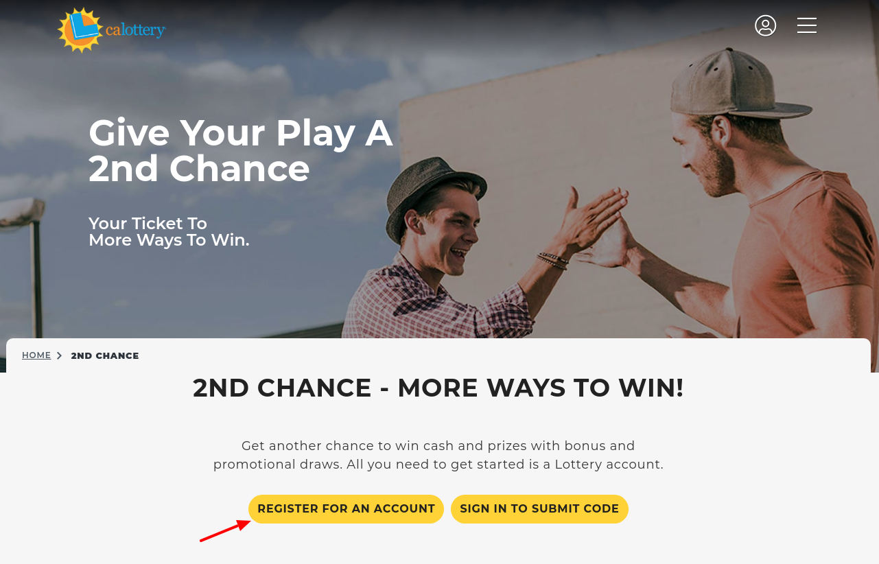 2nd Chance California State Lottery Register
