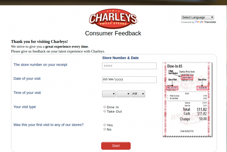 Charleys Philly Steaks Survey