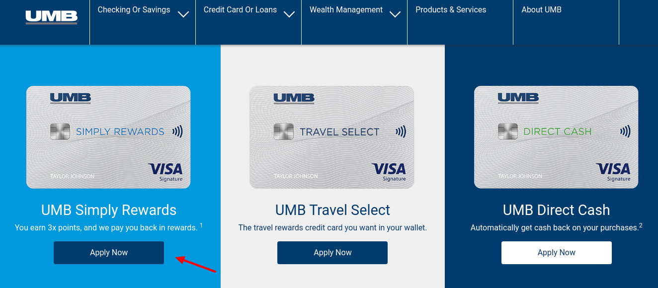 UMB Credit Card Apply