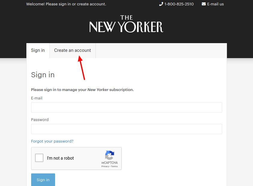 New Yorker magazin Create Account