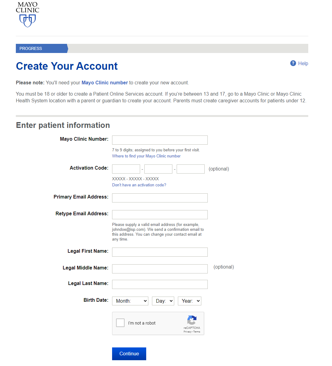 Procedure to Register for the Mayo Clinic Patient Portal