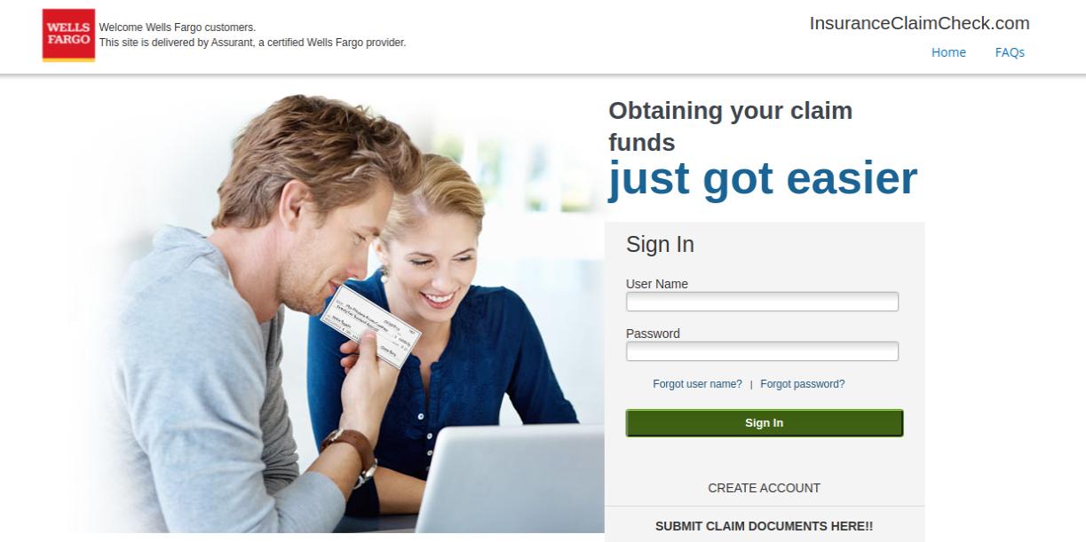 InsuranceClaimCheck Wells Fargo Login