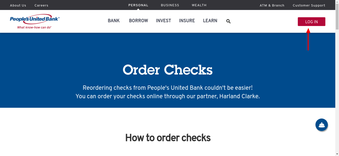 Order Check from People's United Bank Login