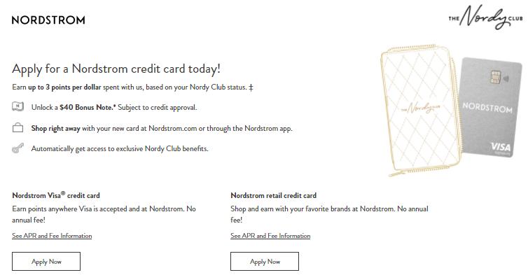 Nordstrom Credit card apply