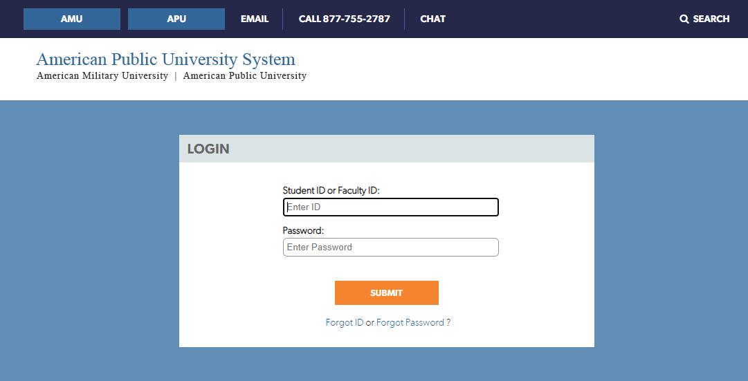 american public university login
